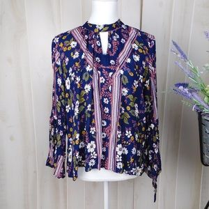 Aina Be Blue High Neck Blouse
